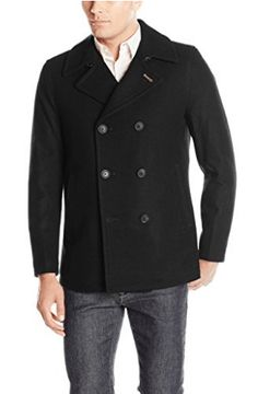 Lucky Brand Men's Ayer Double Breasted Wool Coat, Black, S: Notch collar three quarter length wool double breasted coat Mens Wool Coats, Wool Jackets, Military Looks, Look Good Feel Good, Fashion Wallpaper, Double Breasted Coat, Lucky Brand, Chef Jackets, Mens Fashion