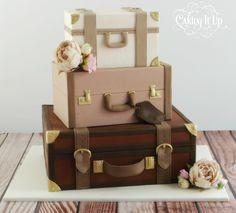 Trio of vintage suitcases wedding cake http://www.facebook.com/cakingitup