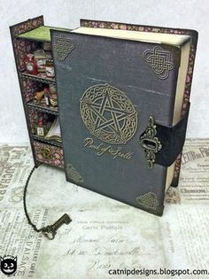 Spells for Sale: How to Assemble a Secret Spell Book Box. - This is cool idea for Tim Holtz Products! How to Assemble a Secret Spell Book Box. My inspiration: Add tinier books inside so that it looks like a tiny bookshelf of potions and spells. Altered Books, Altered Art, Magick, Witchcraft, Wiccan Spells, Magic Spells, Moon Spells, Book Crafts, Paper Crafts