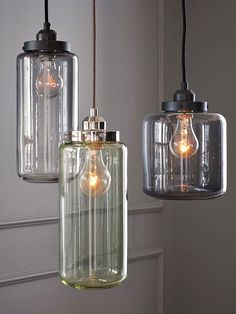 Industrial Lighting  Antique glass jars were the inspirations behind these pendant lights, which achieve a cool look with an industrial edge. The fixtures come in colors that evoke the green and gray hues of vintage bottles. Place one singly over a dining table, or cluster at varying heights. Fill with Edison bulbs to complete the look.     Get it now: Glass Jar Pendants, $ 79 at West Elm