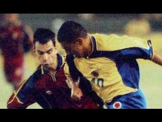 Colombia 2 Venezuela 0 in 2001 in Barranquilla. Victor Aristizibal goes on the attack for the hosts in Group A at Copa America.