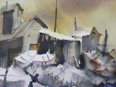 430: Frank Webb watercolor of coastal fishing shacks : Lot 430
