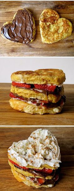 Nutella, strawberry & cream cheese stuffed french toast! I'm in heaven!!!