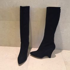 Black suede knee boots Classy Kate Spade black suede boots.  Back Zipper  Never worn-perfect condition.  2 1/2 inch heel. Great with skirts. kate spade Shoes Heeled Boots
