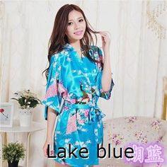 RB013 2015 Women Bathrobes Japanese Yukata Kimono Satin Silk Vintage Robe Sleepwear Plus Size S-XXL 14 Colors Nightgowns