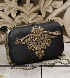Black Persian Zardozi embroidered clutch by Karieshma Sarnaa at Indianroots.com
