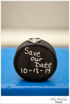 """Do you have a puck that we could write """"Mr and Mrs. Bertin and the date on it? I can put all 3 rings on top. Hockey Engagement Photos, Country Engagement, Winter Engagement, Engagement Pictures, Engagement Shoots, Engagement Photography, Wedding Engagement, Our Wedding, Dream Wedding"""