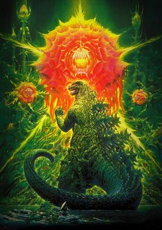 Godzilla vs Biollante Painting (Toho, 1989) by Aeron Alfrey, via Flickr