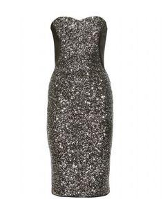 Black shiny sequined dress!