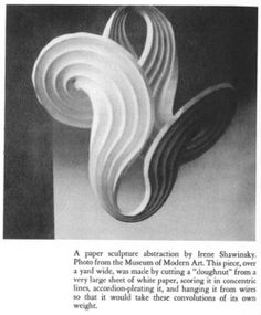 """Paper: Irene Schawinsky, wife of Alexander """"Xanti"""" Schawinsky who was a Bauhaus student and later taught at Black Mountain College (presumably with Albers). This sculpture appeared at the Museum of Modern Art (MoMA), sometime before 1944.  This sculpture shows a common variation on the concentric circle model, where a center circular hole has been cut out. In this case, the hole is rather large, enabling significant flexibility."""