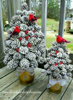 Snow Covered Pinecone Trees!!! Bebe'!!! Love the Red Cardinals!!!