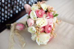Pembe romantik düğün buketi