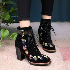 Womens Suede Block High Heels Retro Embroidery Floral Shoes Lace Up Ankle Boots