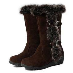 Plus Size 33-43 Women Wedges Shoes Fashion Warm Winter Rubbit Hair Boots Mid Calf Faux Rabbit Fur Snow Boots