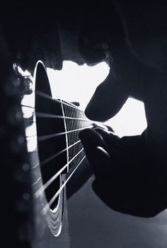 Music - Guitar Strumming - Black & White Photography