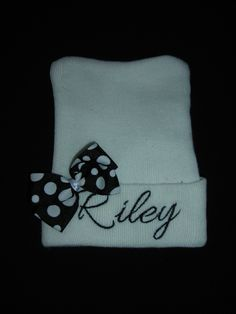Personalized Embroidered Newborn Hospital Beanie, White Hat with Black Embroidery by BFFMommy on Etsy