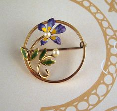 Krementz Cultured Pearl Enamel Floral Brooch