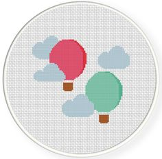 Hot Air Balloons PDF Cross Stitch Pattern by DailyCrossStitch Easy Cross Stitch Patterns, Simple Cross Stitch, Cross Stitch Baby, Cross Stitch Designs, Cross Stitching, Cross Stitch Embroidery, Pattern Pictures, Patch, Balloons