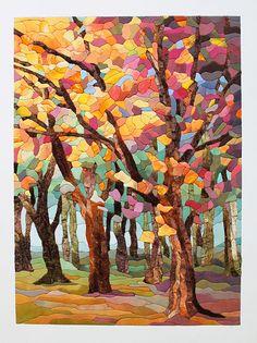 Осень — любимое многими время года. И я — не исключение :) Буйство осенних красок вдохновило меня на создание этой картины. Материалы и инструменты: - бархат-стрейч (мультиколор) коричневого, зеленого, оливкового, рыжего, бежевого цветов и их оттенков; - шелк белого, желтого, оранжевого, бордового, красного, серого, зеленого, голубого, бежевого цветов и их оттенков; - двусторонняя самоклеющаяся…
