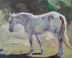 gray horse oil painting
