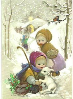 Christmas Greeting: Children in snow - Little lamb Vintage Christmas Images, Retro Christmas, Vintage Holiday, Christmas Pictures, Vintage Images, Vintage Greeting Cards, Christmas Greeting Cards, Christmas Greetings, Vintage Postcards