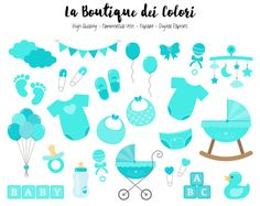 Turquoise Baby Clipart, Cute Graphics PNG, Scrapbook Invitation, Its a boy, baby shower, nursery Clip art, Planner Stickers Commercial Use Ideal for planner stickers, printable stickers party decorations, cards, banners, printing for scrapbooking, accessories, birthdays, textile,