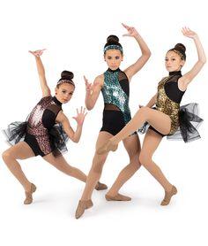 Black White One Leg Sequin Acro Jazz Dance Costume Medium Child MC 8 10