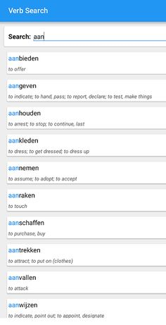 Scheidbare werkwoorden met het partikel 'AAN' (Nederlands - Engels) [1] Dutch Phrases, Dutch Words, Dutch Language, Learn A New Language, Learn Dutch, Dutch Netherlands, English Grammar, Passion, App