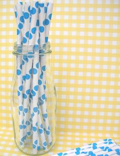 Paper Straws-Blue Dots