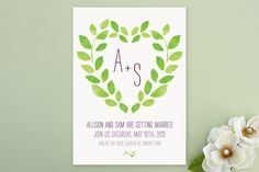 (From Minted): eco-friendly, flat, Floral, garden, hand written, leaves, max and bunny, monogram, outdoor, paintet, simple, stationary, sweet, watercolor, wedding invitations