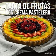 Video de Tarta de Frutas con Crema Pastelera - Health and wellness: What comes naturally Tart Recipes, Cheesecake Recipes, Sweet Recipes, Cookie Recipes, Dessert Recipes, Fresh Fruit Tart, Mini Fruit Tarts, Citrus Fruits, Delicious Desserts