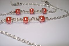 peachy glass pearl eyeglass chainlanyard by helenshmcreations, £7.50