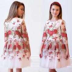 David Charles - floral rose brodé robe de tulle   Childrensalon