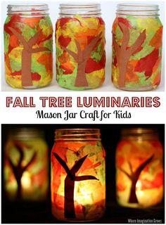 Mason Jar Fall Tree Luminaries Craft for Kids! A simple tissue paper craft that…