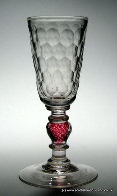 SOLD - Bohemian Colour Twist Glass Goblet c1730
