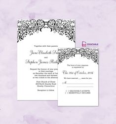 Filigree Top Border Invitation and RSVP. For customizations: printableinvitationkits[at]gmail[dot]com