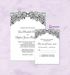 FREE PDF wedding downloads. Filigree Top Border Invitation and RSVP. For customizations: printableinvitationkits[at]gmail[dot]com