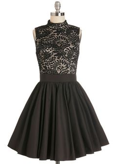 Dancer's Delight Dress by Chi Chi London - Black, White, Lace, Party, Cocktail, Twofer, Fit & Flare, Sleeveless, Better, Long, Top Rated, Homecoming, Full-Size Run, Press Placement, Prom