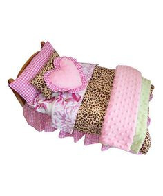 Another great find on #zulily! Pink & Green Leopard Bedding Set for 18'' Doll #zulilyfinds