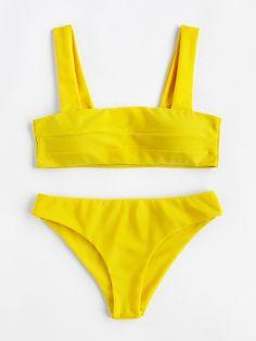 b235d3207c294 Romwe Wide Strap High Leg Bikini Set Yellow Bathing Suit, Yellow Bikini,  Polka Dot