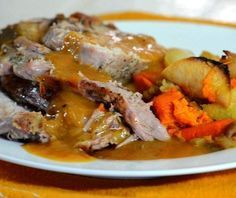 Rebecca Brand shows you how to make a pork loin with gravy and vegetables. Roasting Pork, or how to roast pork is easy with these tips. The home made gravy f. Oven Roasted Pork Loin, Pork Roast In Oven, Roasted Pork Tenderloins, Pork Tenderloin Gravy Recipe, Pork Roast With Gravy, Greek Recipes, Pork Recipes, Cooking Recipes, Home Made Gravy