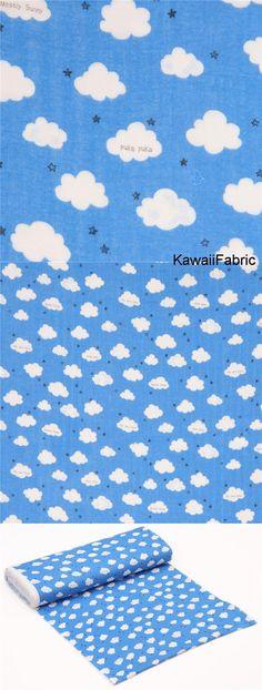 blue Kokka double gauze cute white cloud mini star fabric from Japan - Kawaii Fabric Shop Michael Miller, Fabric Shop, Pink Fabric, Kawaii, Modes4u, Textiles, Double Gauze Fabric, Fabric Design, Delicate