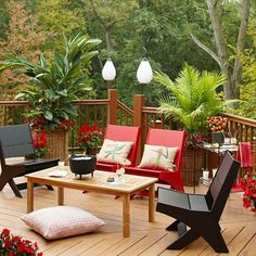 Make your deck both stylish and functional! More ways to improve your deck: http://www.bhg.com/home-improvement/deck/ideas/liven-up-your-deck/?socsrc=bhgpin072413redchairs=11