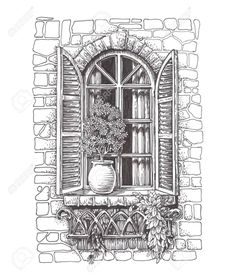 Illustration about Vintage window. Drawn sketch window with shutters. Illustration of artwork, shutters, curtains - 79564999 Landscape Pencil Drawings, Landscape Sketch, Pencil Art Drawings, Architecture Drawing Sketchbooks, Architecture Concept Drawings, Cool Art Drawings, Art Drawings Sketches, Window Drawings, Kunst Inspo