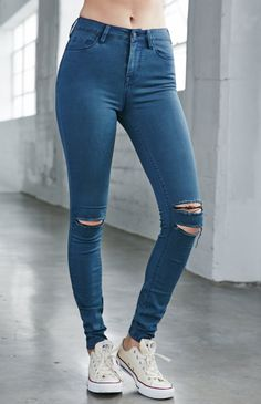 Slate Ripped High Rise Skinny Jeans