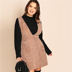 121b0d157ae Preppy Style A-Line Corduroy Dress in Coffee