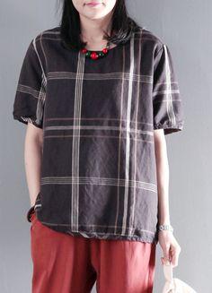 Brown plaid simple cotton blouse women shirt plus size short top