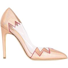 RUPERT SANDERSON 110mm Syra Laminated Leather Pumps ($345) ❤ liked on Polyvore featuring shoes, pumps, heels, rose gold, leather shoes, high heeled footwear, clear shoes, pointed toe pumps and clear heel shoes
