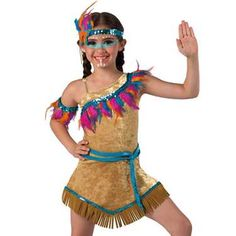 20239 Colors Of The Wind Camel Crushed Velvet And Brown Spandex Leotard With Attached Matching Skirt And Adjustable Nude Elastic Strap Peacock Sequin Multi Color Feather And Brown Suede Fringe Trim Headpiece Arm Band Socks And Binding For Waist Included Dance Recital Costumes, Dress Up Costumes, Masquerade Costumes, Carnival Costumes, Dance Outfits, Kids Outfits, Indian Costumes, Kids Fashion, Fashion Outfits