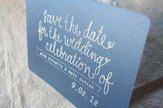 Handwritten Navy Metallic Save the Date Postcard Save The Date Postcards, Save The Date Cards, Wedding Paper, Wedding Day, Wedding Stuff, Graphic Design Inspiration, Design Ideas, Typography, Lettering